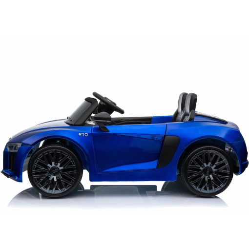 12v Blue audi r8 spyder ride on car side view