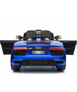 12v Blue audi r8 spyder ride on car rear view