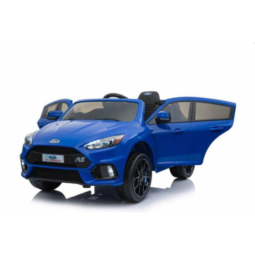 Blue 12v Ford Focus RS kids ride on car with opening doors