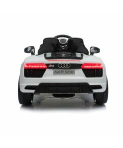 12v White audi r8 spyder ride on car with rear led lights