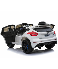 White 12v Ford Focus RS kids ride on car with opening doors