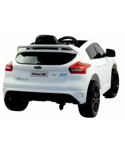 White 12v Ford Focus RS kids ride on car with parental remote