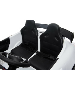 12v 2 Seater Mercedes GT R AMG Electric RIde on Car in white with seat belts