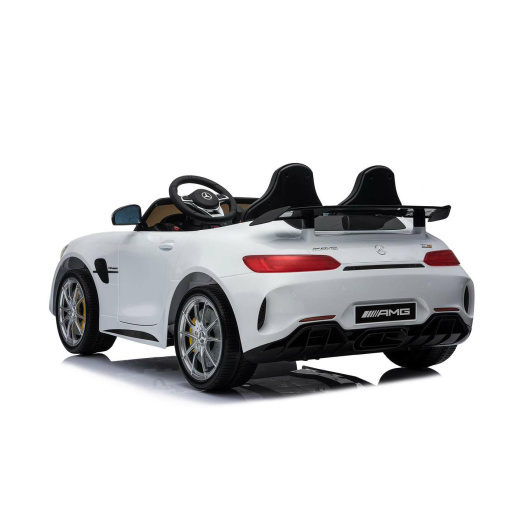 12v 2 Seater Mercedes GT R AMG Electric RIde on Car in white with 2 seats