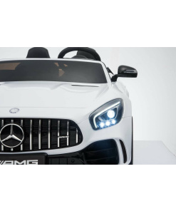 12v 2 Seater Mercedes GT R AMG Electric RIde on Car in white with wing mirrors