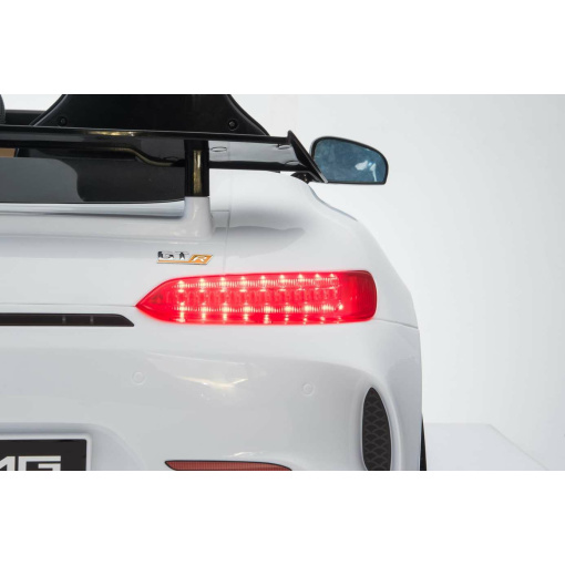 12v 2 Seater Mercedes GT R AMG Electric RIde on Car in white with led lights