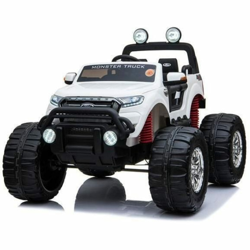 Ford Ranger Monster Truck Ride on 2 seater 24v in White with MP4 TV Leather Seat and Rubber Wheels-1537