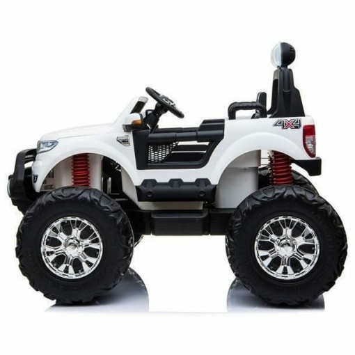 Ford Ranger Monster Truck Ride on 2 seater 24v in White with MP4 TV Leather Seat and Rubber Wheels-1539