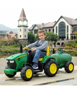 green farm tractor with sprinkler