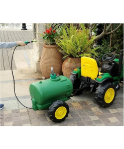 green farm tractor with remote and water tank