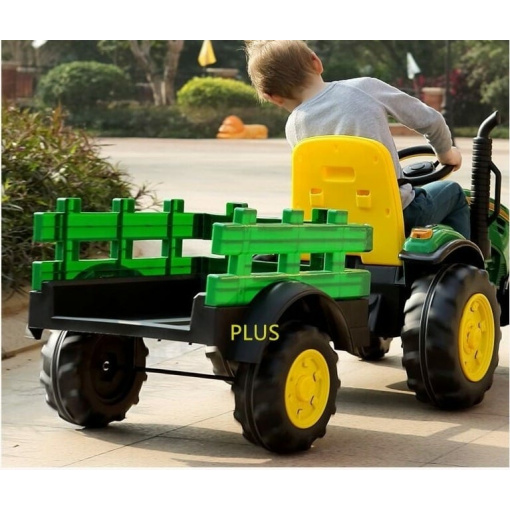 kids ride on farm tractor with trailer