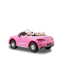 Kids Ride on Pink Mercedes car with rubber wheels leather seat and mp4