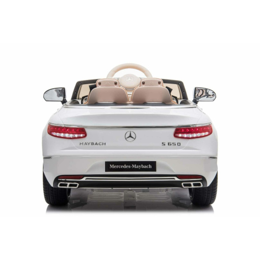 Kids Ride on White Mercedes car with rubber wheels leather seat and mp4