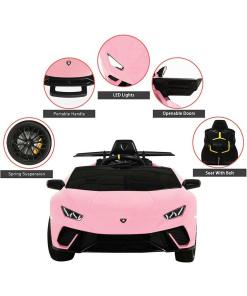 Pink Electric ride on lamborghini huracan car