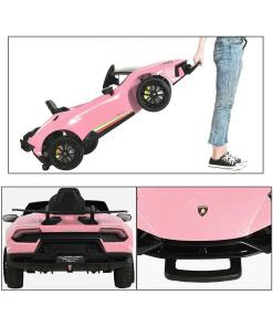 Toddlers ride on pink car lamborghini